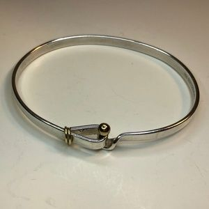 18K Gold Silver Hook and Eye bangle bracelet 8""